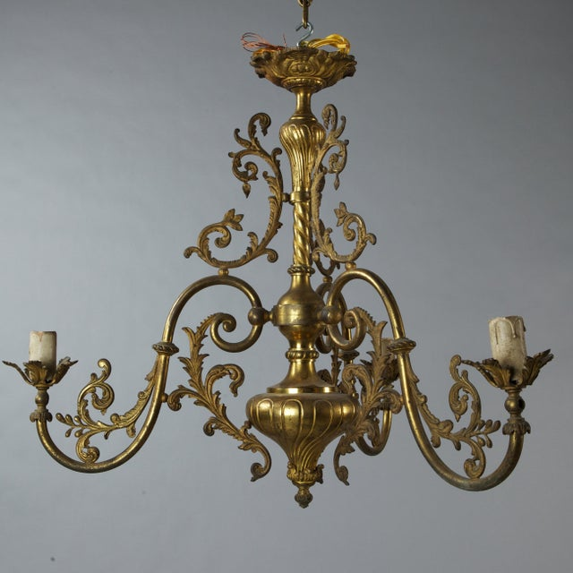 French Three Light Solid Cast Brass Chandelier - Image 2 of 8
