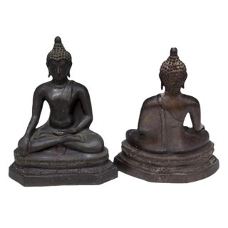 Cast Metal Seated Earth Touching Buddha Figures - a Pair