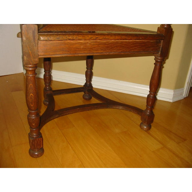 Berkey & Gay Jacobean Cane & Cowhide Arm Chair - Image 10 of 11