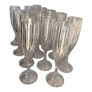 Vintage Crystal Glass Champagne Flutes - Set of 14