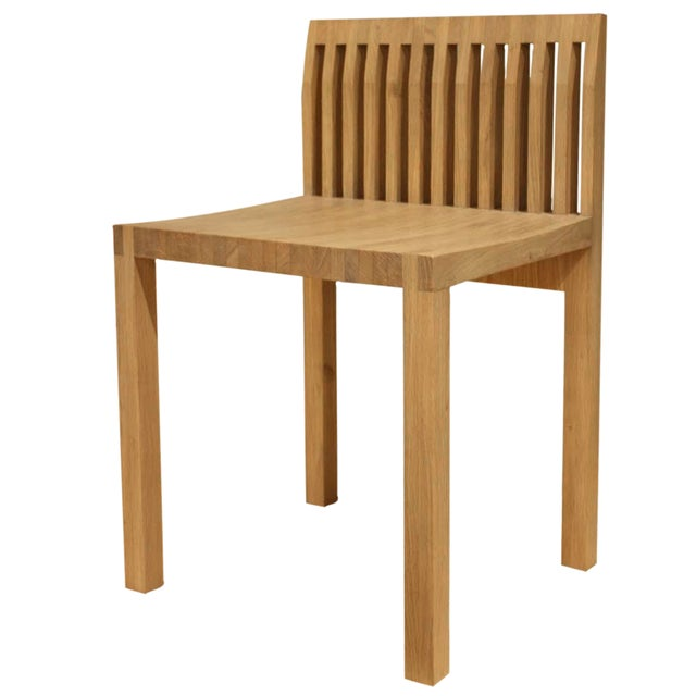 Image of Natural Oak Slat Back Accent Chair