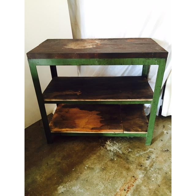 Vintage Steel and Wood Industrial Table - Image 2 of 6