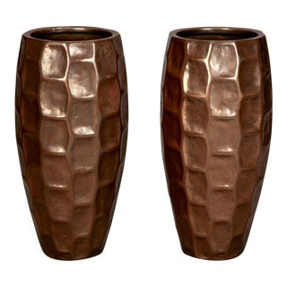 Pair Tall Mid-Century Textured Fiberglass Floor Vases With Bronze Overlay