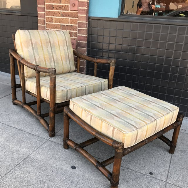 Vintage McGuire Lounge Chair & Ottoman - Image 3 of 10