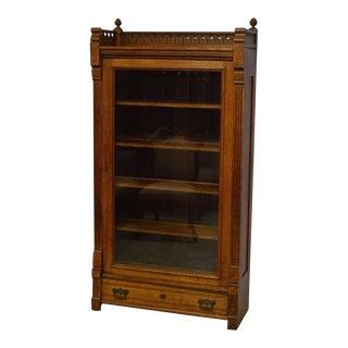 Antique Quartersawn Oak Bookcase Cabinet