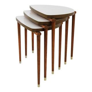 Mid-Century Modern Nesting Tables Half Moon S/3
