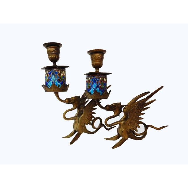 Image of French Gothic Gargoyle Candle Holders - A Pair