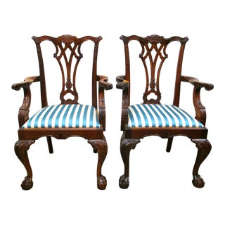 Antique Chippendale Carved Mahogany Chairs - A Pair