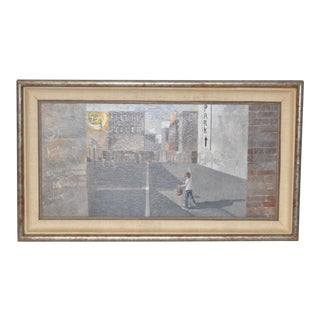 Inner City Basketball Court Oil Painting c.1970s