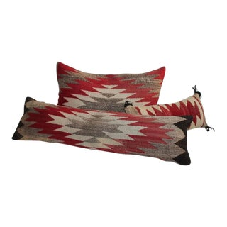 Collection of Three Small Navajo Weaving Bolster Pillows
