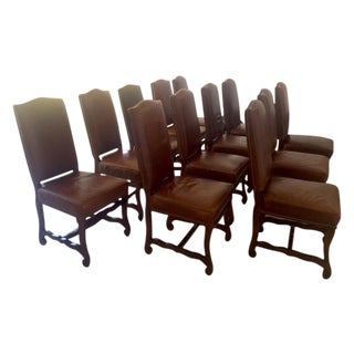 Leather Dining Chairs With Nailheads - Set of 12