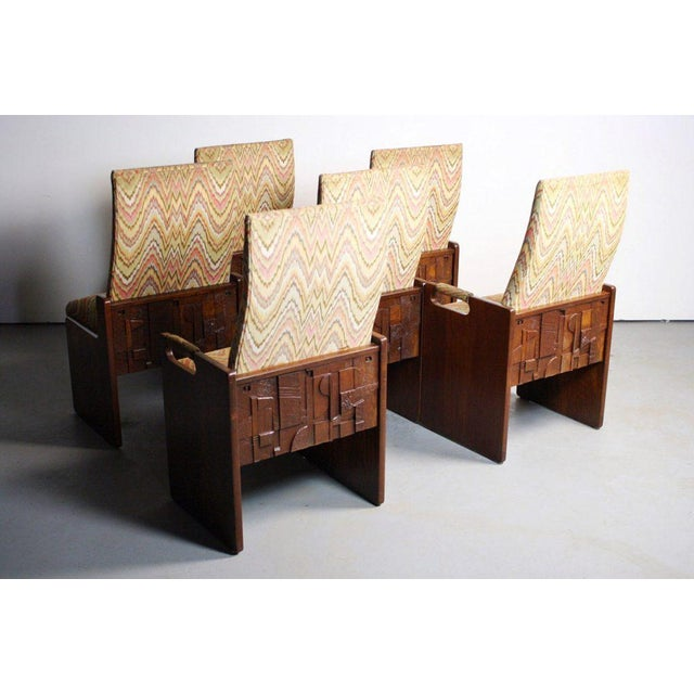 Lane Brutalist Walnut Dining Chairs - Set of 6 - Image 5 of 6