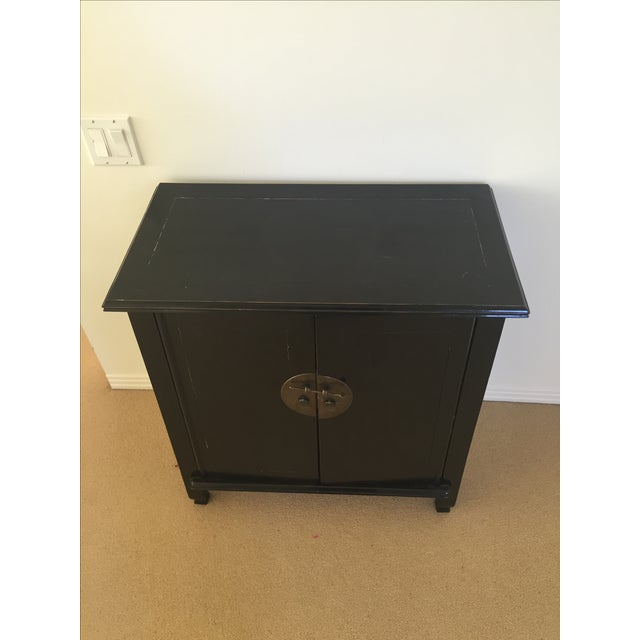 Spruce Wood Small Black Cabinets - Pair - Image 4 of 5