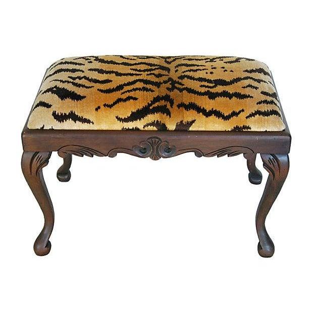 Vintage Scalamandre Le Tigre Silk Velvet Bench - Image 2 of 8