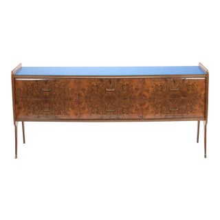 Italian Walnut Glass Top Sideboard