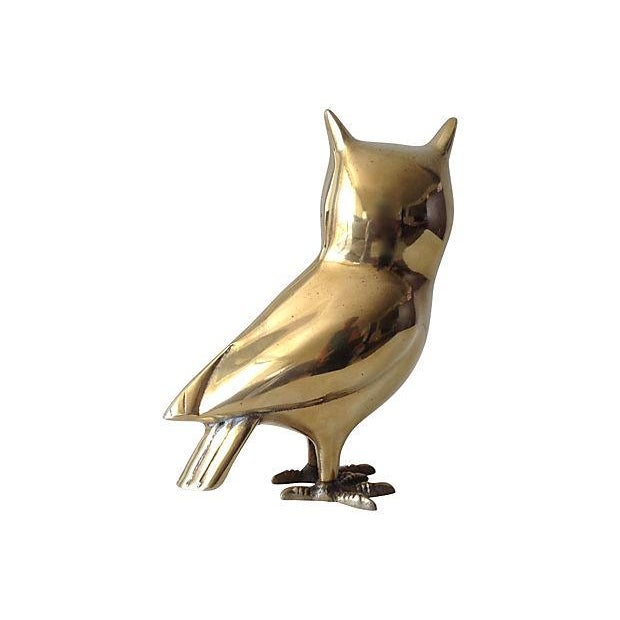 Brass Standing Owl with Crow Feet - Image 3 of 7