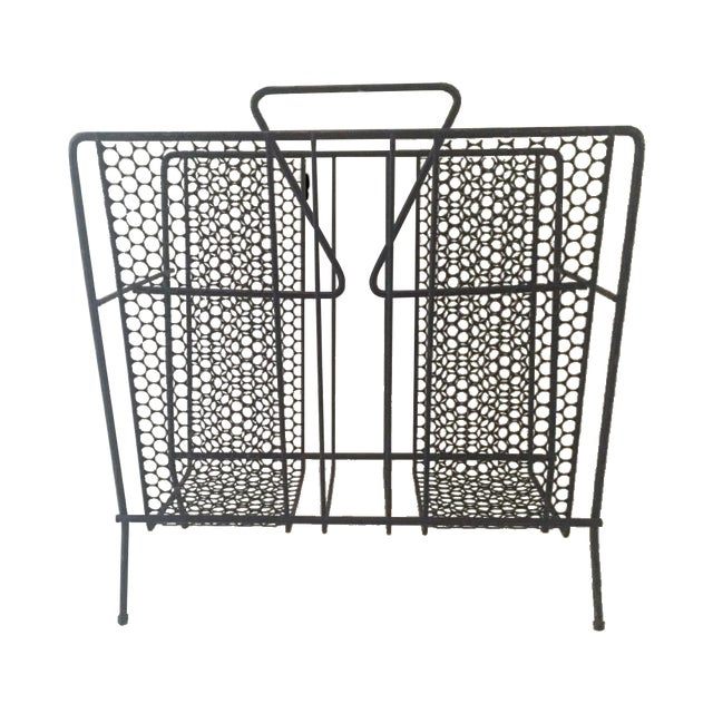 Vintage Atomic Wire Mesh Magazine Rack - Image 1 of 5
