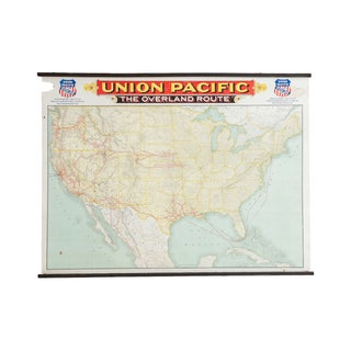 Antique Railroad Canvas Map