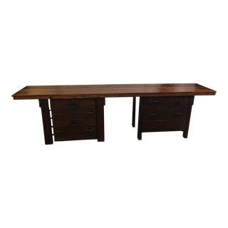 Rustic Wood + Eight Drawer Work Desk