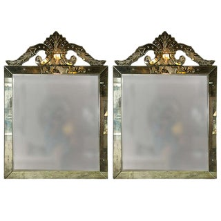 Distressed Venetian Roma Square Mirrors - A Pair