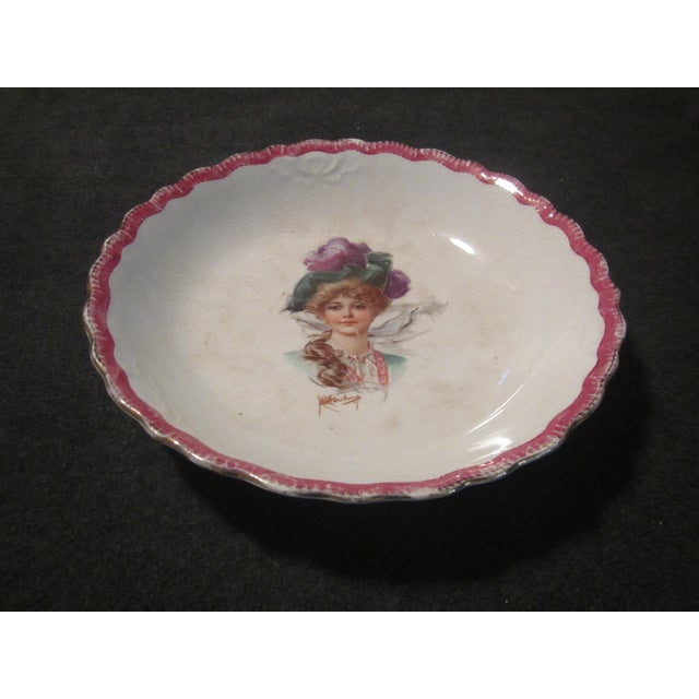 Signed 1907 Victorian Woman's Portraiture Bowl - Image 4 of 10