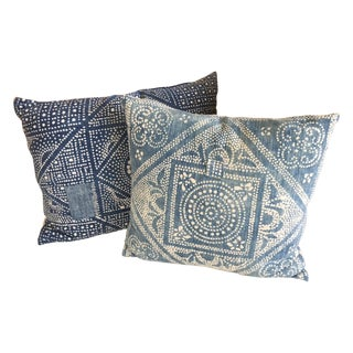 Vintage Indigo Batik Pillows - A Pair