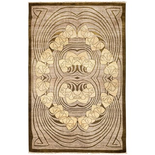 """New Contemporary Hand Knotted Area Rug - 4'1"""" x 6'3"""""""