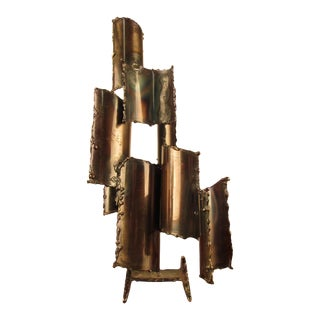 Fantoni Brutalist Torch-Cut Steel Table Sculpture