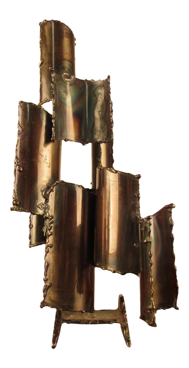 Fantoni Brutalist Torch Cut Steel Table Sculpture
