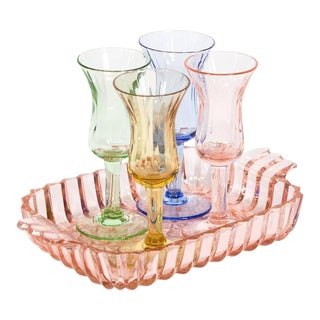 Mid-Century Multi-Color Cordial glasses & Tray - Set of 5