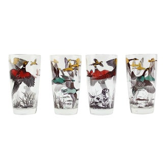 Vintage Fowl Glasses - Set of 4