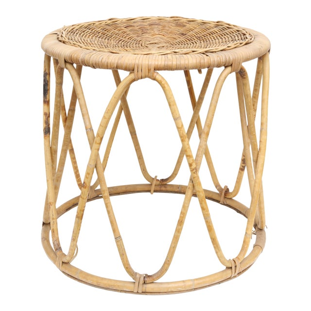 Vintage Boho Chic Bamboo & Wicker Side Table - Image 1 of 4