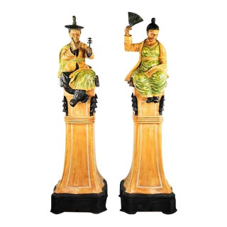 Decorative Chinese Ming Style Man & Woman Statues - A Pair