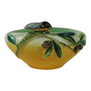 Majolica Cicada & Olive Jardiniere