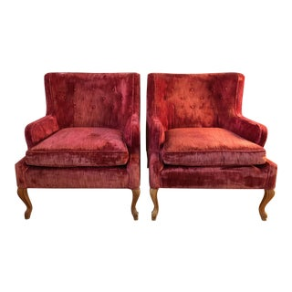 Vintage Club Chairs in Crushed Velvet - A Pair