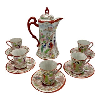 1920s Japanese Geisha Coffee / Teapot Set With Service for 5