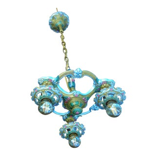Antique Small Green and Blue Art Deco Chandelier