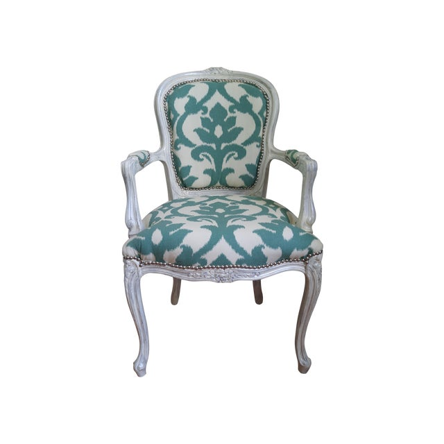 Vintage Victorian Ikat Print Arm Chair - Image 1 of 5