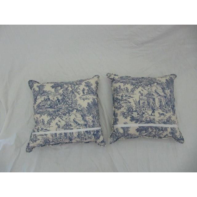 Blue & White Toile De Jouy Pillows - A Pair - Image 4 of 9