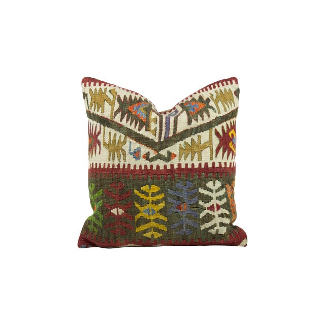 Image of Turkish Kilim Pillow with Green Pattern
