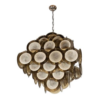 Modernist Pagoda-Style Diamond Shape Chandelier with Smoked Topaz Discs