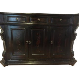 Hand Painted Dark Wood Credenza