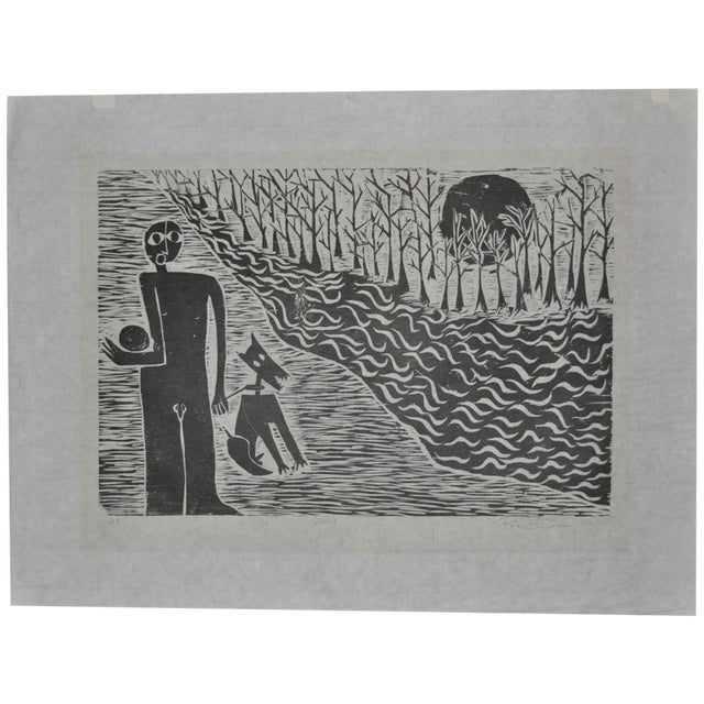 Mid Modern Woodblock C.1950 - Image 1 of 8