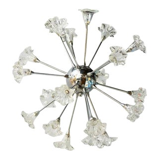 Mid-Century Modern Sputnik Chandelier with Floral Glass