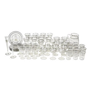 Art Deco Style Silver Ring Tableware Party Set, 58 Pieces