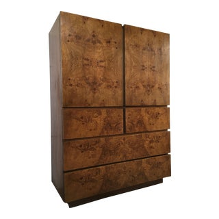 Vintage Mid Century Modern Lane Burl Wood Highboy Dresser.
