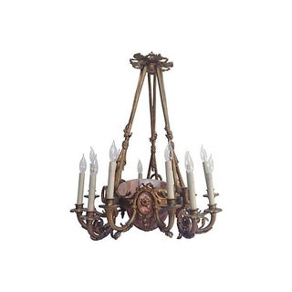 French Alabaster & Bronze Chandelier