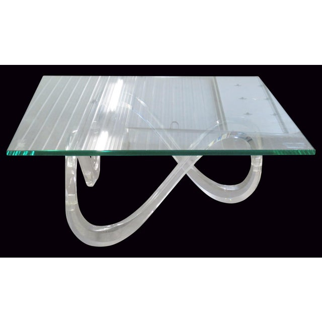 Modernist Glass Top & Lucite Base Coffee Table - Image 2 of 5