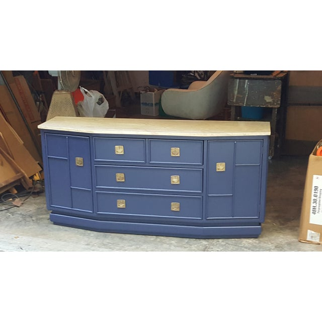 Vintage Campaign Regency Marble Top Painted Sideboard - Image 3 of 10