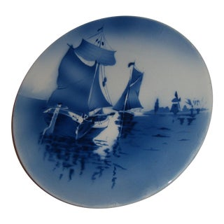 German Blue & White Harbor Wall Plate